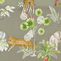 Green/Taupe/Multi Animal Safari Print Twill Decor Fabric