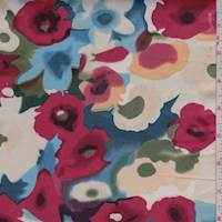 White/Coral Watercolor Floral Sateen