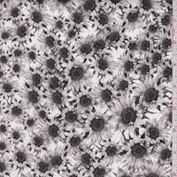 White/Grey Sunflower Stretch Sateen