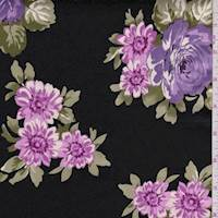 Black/Lilac/Pink Floral Bouquet Sateen