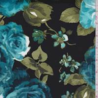 Black/Teal Blue Floral Sateen