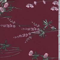 *3 5/8 YD PC--Crimson Wildflower Jersey Knit