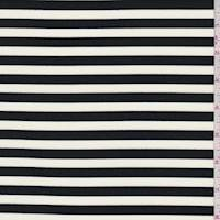 *2 1/2 YD PC--Ivory/Black Stripe Brushed Activewear