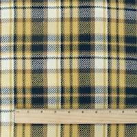 *1 1/2 YD PC--Yellow/Black/Multi Cotton Plaid Jacketing