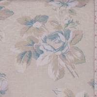 Ecru/Slate Blue Floral Linen Blend