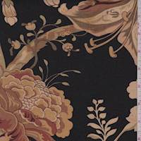 Black/Tan Stylized Floral Print Linen