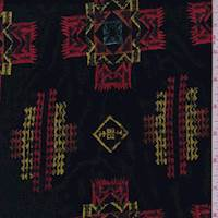 Black Multi Southwest Embroidered Rayon Challis