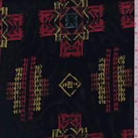Black Multi Southwest Embroidered Rayon Challis