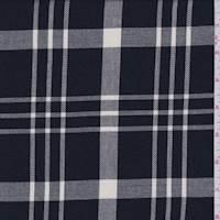 *3 1/8 YD PC--Black/Pearl Plaid Shirting
