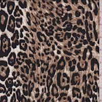 *3 YD PC--White Leopard Print Rayon Challis