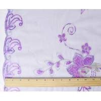 *3 1/8 YD PC--Lavender Purple/Gold Floral Embroidered Sequin Scallop Mesh