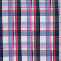 White/Navy/Pink Plaid Cotton Shirting
