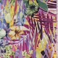 Lilac/Sage Multi Tropical Floral Scuba Knit