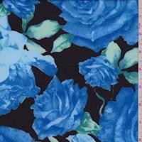 Black/Sapphire Rose Scuba Knit