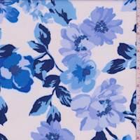 White/Aqua/Navy Modern Floral Scuba Knit
