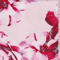 Whisper Pink/Ruby Modern Floral Scuba Knit