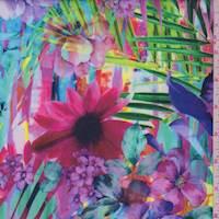 Iris Purple Multi Sunset Floral Scuba Knit