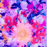 Orange/Pink Floral Garden Scuba Knit