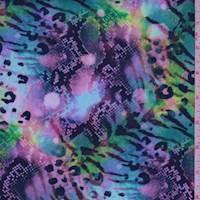 Lilac/Teal Multi Snakeskin Scuba Knit