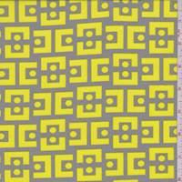 Stone/Yellow Modern Crepe de Chine