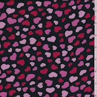 Black/Pink Heart Satin Charmeuse
