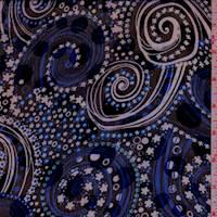 Black/Blue Floral Swirl Jacquard Chiffon