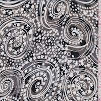 Black/Grey Floral Swirl Jacquard Chiffon