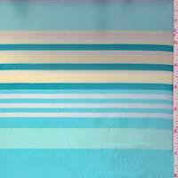 Turquoise/Buff Stripe Chiffon