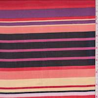 Red/Purple/Black Multi Stripe Chiffon