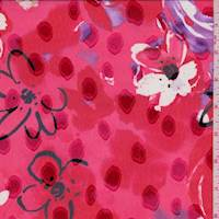 Red Modern Floral Jacquard Chiffon