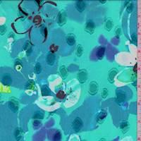 Aquamarine Modern Floral Jacquard Chiffon