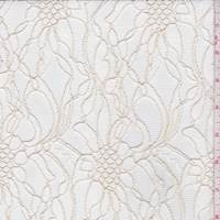 *2 1/4 YD PC--Whisper White/Gold Floral Lace