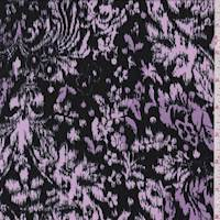 Black/Orchid Baroque Ikat Brushed Jersey Knit