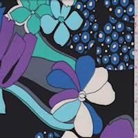 Black/Royal Mod Floral Brushed Jersey Knit