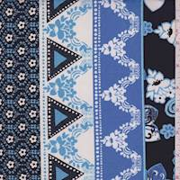 Sky/Black/White Deco Stripe ITY Jersey Knit