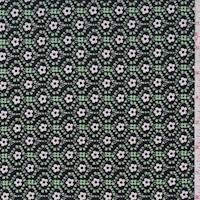 Mint/Black Mini Floral ITY Jersey Knit