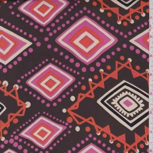 Brown Pink Orange Diamond Ity Jersey Knit 80777 Discount Fabrics