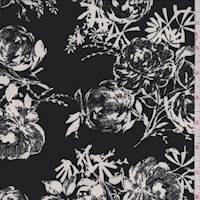 Black/White Sketch Floral ITY Jersey Knit