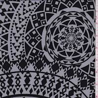 Grey/Black Mosaic Medallion Crepe De Chine