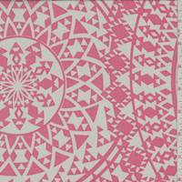 Taupe/Coral Mosaic Medallion Crepe De Chine