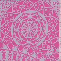 Pearl Grey/Pink Mosaic Medallion Crepe De Chine