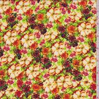 Red/Orange Floral Crepe De Chine