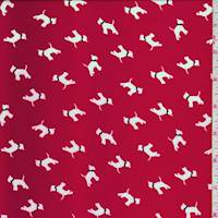 Pale Red Dog Print Peachskin