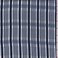 Navy/White Plaid Satin Charmeuse