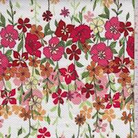 *2 YD PC--White Multi Floral Garden Pique
