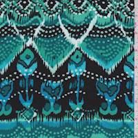 *3 YD PC--Aqua Green/Black Aztec Rayon Challis