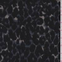 *1 3/4 YD PC--Black/Slate Blue Leopard Faux Fur Jacketing