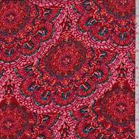 Red/Pink Floral Medallion Peachskin
