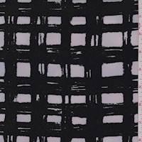Black/Beige Brushstroke Check Crepe De Chine
