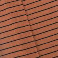 *1 3/8 YD PC--Rustic Orange/Black Stripe Pique Knit